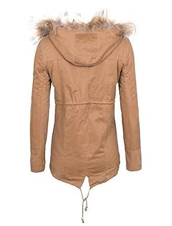 GIOVANI & RICCHI Designer Winterjacke Warme Jacke Parka mit Kapuze in Schwarz und Beige 36 38 40 42