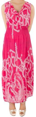 Long Pink Simple DRY77 Pattern Paisley Dress xRtYaA