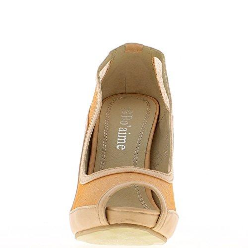 Zapatillas De Mujer Color Salmón Con Abertura Delantera De 11cm Y Bandeja En El Talón