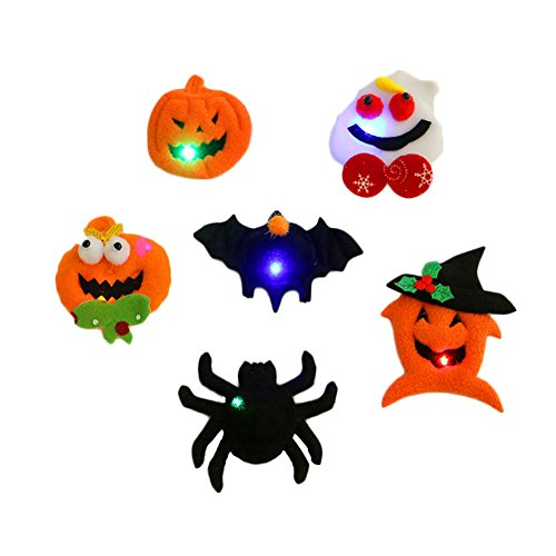 Halloween Flashing Pin (Halloween Glowing Flashing Cartoon Brooch Badge LED Light Up Pins Brooches Halloween Party Toys Decoration Supplies Pack of 4 Random Style)
