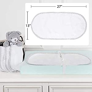 TILLYOU Larger Softer Changing Pad Liners Waterproof, Washable Reusable Changing Table Cover Liners Double Layers, 100% Cotton Flannel Surface, 27″x13″ 6 Count