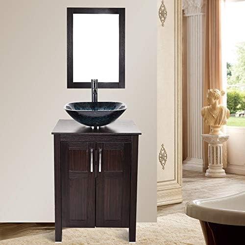 浴室キャビネットミラー容器シンク蛇口ポップアップドレインコンボセットガラス洗面シンクウッドバニティ2020 (Color : Blue)