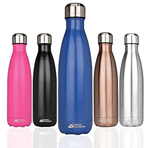 Modern Innovations Stainless Steel Portable Water Bottle Leak Proof, Double Walled, Vacuum Insulated & BPA Free - Keep Your Drink Hot & Cold Perfect for Camping, Picnic, Gym & Travel | 17 Oz (Blue)