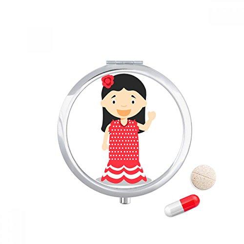 Flower Red Dress Spain Cartoon Travel Pocket Pill case Medicine Drug Storage Box Dispenser Mirror Gift by DIYthinker