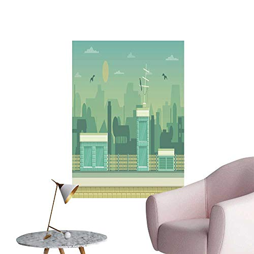 """SeptSonne Wall Decorative layere Parallax Ready Runner Shooter Game cityline backgroun Pictures Wall Art Painting,32"""" W x 60"""" L"""