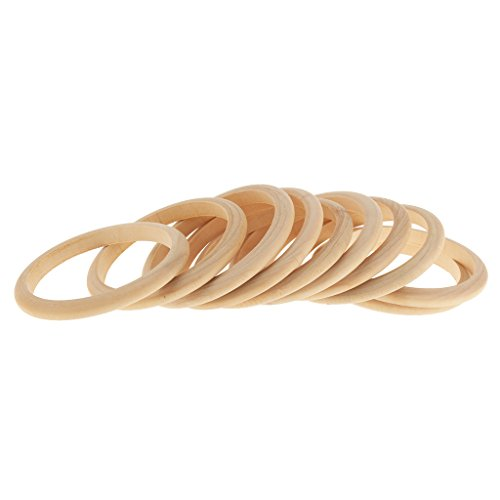 Flameer 10pcs Inner Diameter 6.5cm Vintage Blank Unfinished Wooden Bracelet -