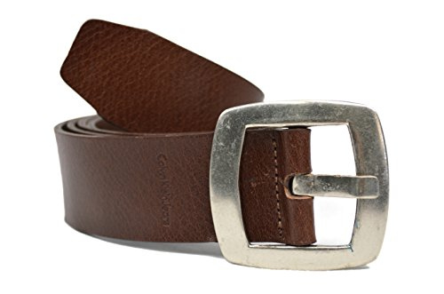 Calvin Klein Denim Belt (Calvin Klein Jeans Square Metal Buckle Genuine Leather Belt Brown Large)