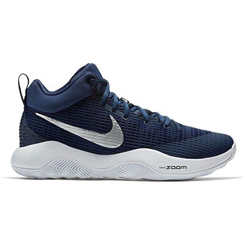 Nike Mens Zoom Rev Tb Scarpe Da Basket Blu Navy / Argento Metallizzato Bianco (922048-401) Taglia 9