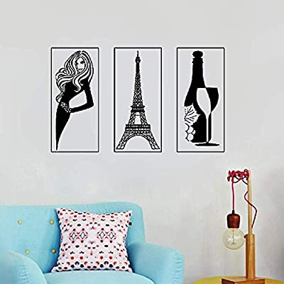 Woape Wall Sticker Family DIY Decor Art Stickers Home Decor Wall Art Paris Eiffel Tower Bottle of Wine Sexy Hot Girl Model