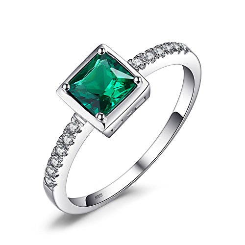 JewelryPalace Square 0.5ct Simulated Green Nano Russian Emerald Solitaire Ring 925 Sterling Silver Size 7