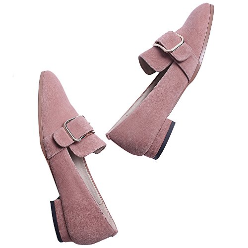 Glisser Boucle Suède Talon Sur Escarpins Femme Chaussures Rismart Rose Branché Chunky ES45qW