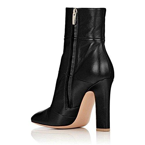 Chunky Boots Booties Women Block Matt Ankle High Pumps Shoes For Jushee Heels Black Stilettos Dress tpgzxtq
