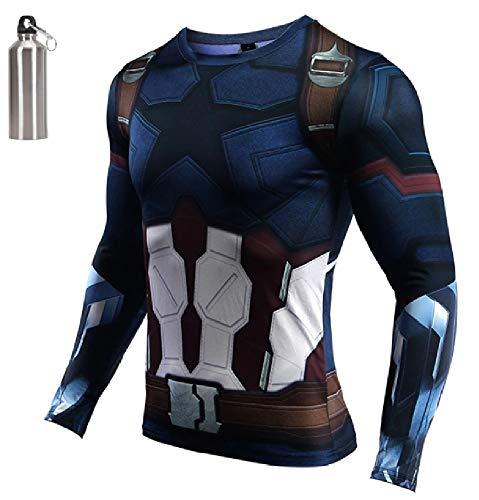 MultiverseMerch Superhero Compression Exercise Fitness Sports Dri-Fit Long Sleeve Shirt Captain America Medium