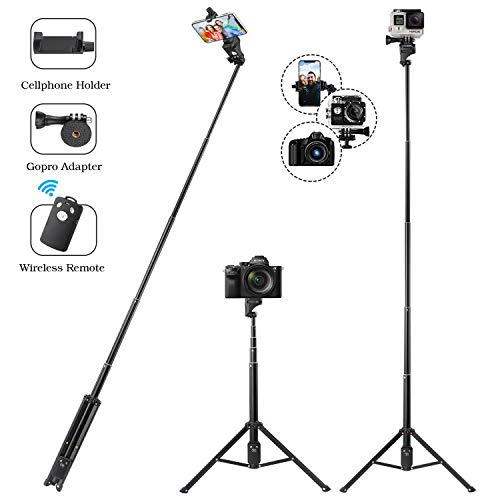 Eocean Selfie Stick Tripod, 54 Inch Extendable Camera Tripod for Cellphone and Gopro, Compatible with iPhone Xs/Xr/Xs Max/X/8/8Plus/7/Galaxy Note 9/S9/Huawei/Google/Gopro Adapter Included