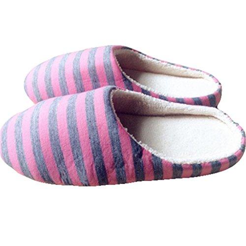 Antidérapantes D'intérieur Femmes Rayé La Jours Doux Pink40 Maison Chaud Des Tous Hiver Pantoufles Hommes Les À Chaussures qA7wngB