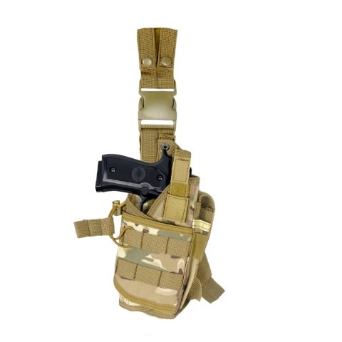 (ARMSTAC Tornado Drop Leg Holster [S5] Tactical Pistol Holster with Quick Detach Buckle Clips, Double Adjustable Leg Straps, Single Magazine Pouch, in camo color Tech Support)