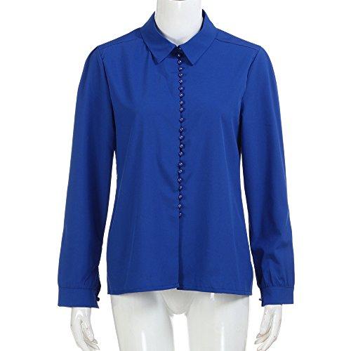 Tee Blouse Col Chemise Fonc Chemisier Shirt en Sixcup Top T Bleu Chic Longues Classique Manches V Femme Boutonne Fluide Casual TqwxYqP