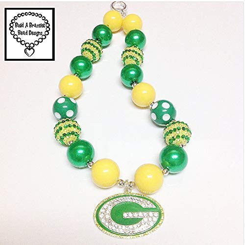 Girls, Toddler Bubblegum Chunky Go Greenbay Packers Necklace by Build A Bracelet Bead ()