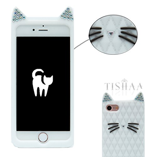 iPhone 7 Case, TISHAA Cute 3D Bling Bling Rhinestones Cat Ears Cute Whiskers Protective Soft Qaulity Case Skin for Apple iPhone 7 (2016) -
