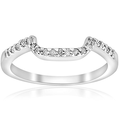 (1/6ct Curved Notched Diamond Wedding Ring 14K White Gold - Size 7)