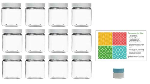 Clear 4 oz Plastic Jars with White Lids (12 pk) with Mini Jar - PET Round Refillable Containers
