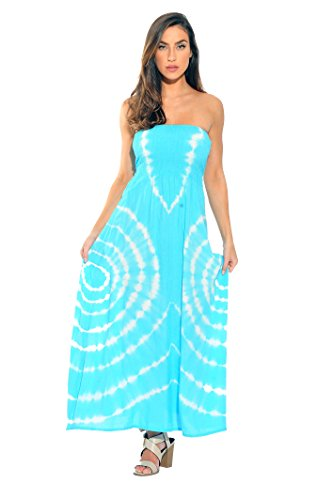 Riviera Sun 21611-TW-3X Strapless Tube Maxi Dress/Summer Dresses Turquoise/White