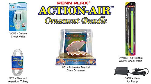 Penn Plax Action-Air Ornament Bundle Gift Set - Comes with Air Pump, Tubing, Bubble Wall, Gang Valve, and Action Ornament for Your Aquarium (Tropical Clam)