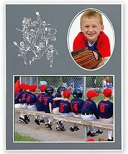 SPORTS Player/Team 7x5/3x5 sports MEMORY MATES Gray cardstock double photo frame sold in 10