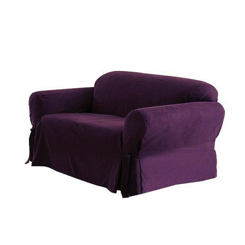 Green Living Group Chezmoi Collection Soft Micro Suede Solid Loveseat Cover Slipcover with Elastic Band Under Seat Cushion, Purple