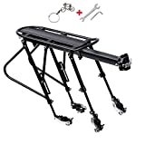 WESTGIRL Bike Rack - Bicycle Cargo Rack with Fender Board, 310LB Capacity Solid Loads Touring Carrier, Height Adjustable Quick Release Seatpost Mount, Cycling Equipment (Quick Release)