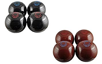 Drakes Pride Black Biassed Indoor Carpet Bowls 2 Pairs Coloured Rings Blue rings Red rings