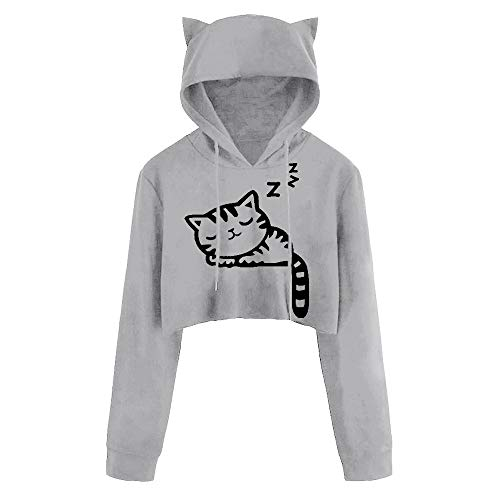 DEATU Juniors Hoodies Women Cute Casual Long Sleeve Sport Coat Teen Girls Cat Kitty Print Short Blouse Top Pullover Sale(a-Gray,L) ()