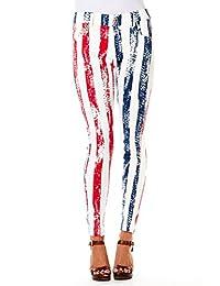 Womens Ladies USA American Patriotic Fashion Jeggings Pants