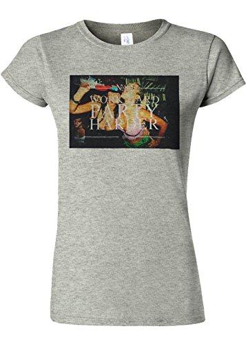 土促進する情熱的Work Hard Party Harder Fun Novelty Sports Grey Women T Shirt Top-M