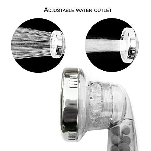 Cabezal de ducha Pudincoco para ba/ño de alta presi/ón turbo Potente Tres engranajes Ahorro de agua Esfera de ducha de esfera de energ/ía de iones negativos transparente
