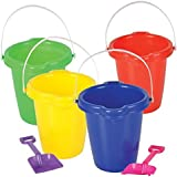 """Neliblu Kids Beach Play Toy Sets, Sand Pails Buckets With Shovels Pool Party Toys 7.5"""" Bulk Party Set (4 Sets) Assorted Colors Summer Party Activity for Building Sand Castles"""