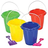 Neliblu Kids Beach Play Toy Sets, Sand Pails Buckets With Shovels Pool Party Toys 7.5'' Bulk Party Set (4 Sets) Assorted Colors Summer Party Activity for Building Sand Castles