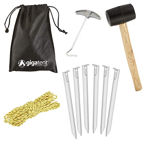 GigaTent 10-Piece Camping Stake Set - Complete Lightweight Tent Setup with Portable Bag - Essential Gear for Outdoor & Hiking