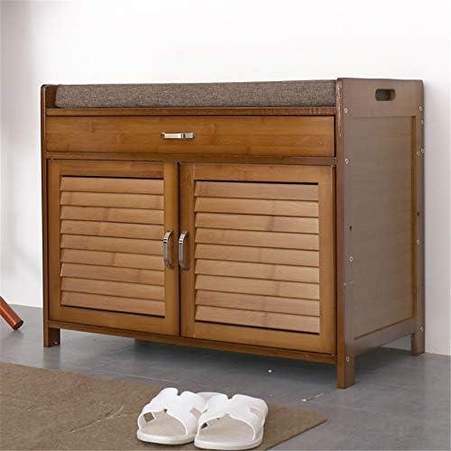 玄関ベンチ スツール 収納ベンチ 靴収納 ベンチ 2ドア竹クッションベンチ靴は、引き出し付きキャビネットオーガナイザーラック エントランスベンチ 省スペース (色 : As picture, サイズ : 69x35x54cm)
