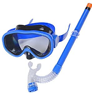 Kids Silicone Scuba Swimming Swim Diving Mask Snorkel Glasses Set Anti Fog Goggles (Blue)