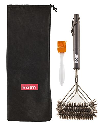 Holm Triple Bristled Stainless Steel Wire Grill Brush with 18-Inch Handle and Basting Brush, Black