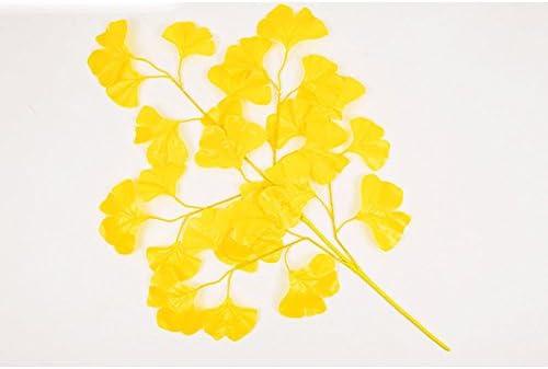 Künstliche Pflanze Ginkgo Biloba Unechte Seidenblume Blätter Dekoration Gelb
