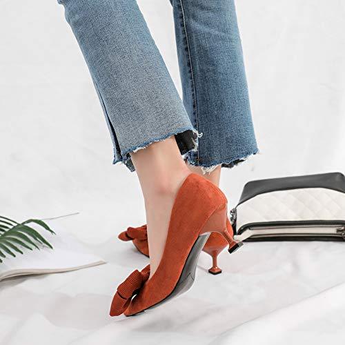 Yukun zapatos de tacón alto Gato Y Zapatos Mujer Otoño Salvaje 5Cm Tamaño Pequeño Tacones Altos Mujer 313233 Solo Zapatos Chica Stiletto Light Brown