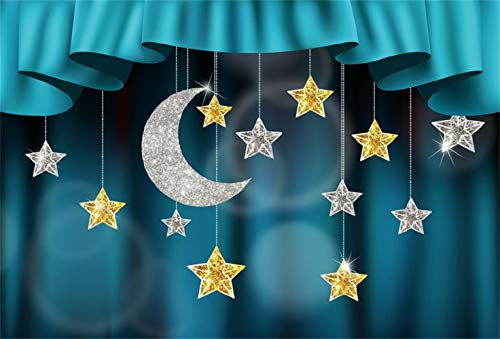 Laeacco Merry Christmas Backdrop Vinyl 10x7ft Blue Curtain Valance Stage Hanging Silver Glitter Moon Golden Star Decors Faint Bubbles Background New Year Xmas Party Banner Child Baby Adult (Bubbles Valance)