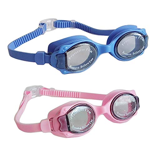 (Genelion 2 Pack Kids Swim Goggles,Swimming Goggles Fit for Children and Early Teens from 3 to 15 Years Old,with Swimming Earplugs,Adjustable Straps,UV Protection,Silicone Eye Seal and Anti Fog Lenses)