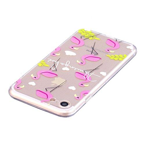 Per iPhone 7 Custodia ,Per iPhone 8 Custodia ,ZXLZKQ Fenicotteri Trasparente Morbido TPU Silicone Coperchio Skin Shell Caso Cover Bumper Protezione Case per iPhone 7 / iPhone 8