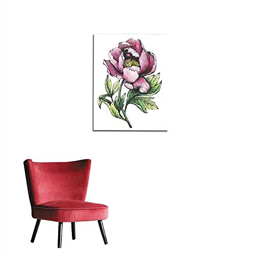 longbuyer Painting Post The Branch Flowering Pink Peony (Peonies Paeony paeonia) Isolated on White Background Hand Drawn Graphic and Watercolor Painting Illustration Mural 20