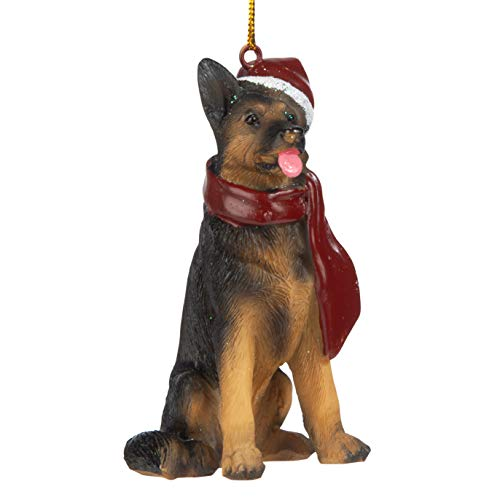Design Toscano German Shepherd Holiday Dog Christmas Tree Ornament Xmas Decorations, 3 Inch, Full Color