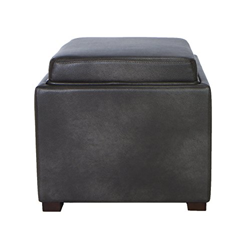 Cortesi Home Mavi Grey Top Tray Storage Cube Ottoman in Bonded Leather (Leather Footstool Storage)