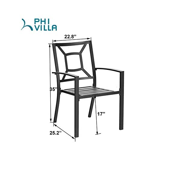 "PHI VILLA 5 Piece Outdoor Patio Dining Set, Square Metal Slatted Table with 1.57"" Umbrella Hole & 4 Metal Chairs for… - 1 METAL TABLE - Metal dining table with thick slat metal tabletop, rust and weather resistant. Powder-coated wood like finish, can be easily cleaned up with damp cloth and water. Skid resistant feet for uneven ground and against floor scratching. Dimensions: 37""L x 37""W x 28""H. 4 METAL PATIO CHAIRS - Made of lightweight steel with exquisite black e-coating, more stable and sturdy, supports 300 lbs. The height of backrest and seat is ergonomically designed, spacious and comfortable for six people family dinner and party. Also can be stacked for easy storage. ELEGANT DESIGN - The 5 piece outdoor dining table set beautifully transforms any backyard, porch, balcony or deck into an elegant dining area with its superior quality & deep comfort feel. Match any decor and suitable for outdoor and indoor use. - patio-furniture, dining-sets-patio-funiture, patio - 41li78gnYcL. SS570  -"